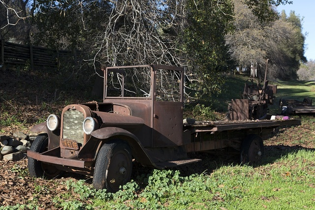 A vintage truck, part of a local landowner's display of old-time vehicles and mining equipment near the settlement of Bangor, south of Oroville in Butte County, California