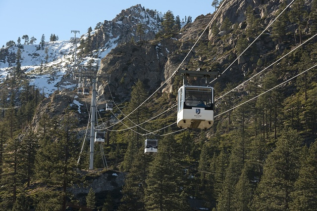 Aerial tram at the Village at Squaw Valley, a year-round Sierra Mountain resort in Olympic Valley, west of Tahoe City, California