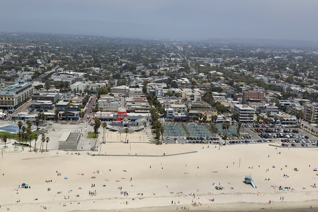 Aerial view of Venice Beach, California