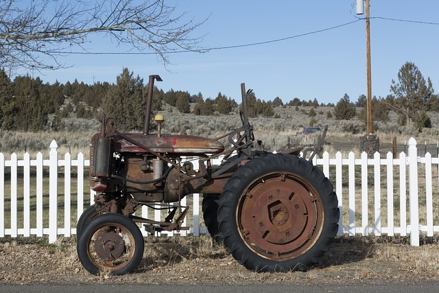An old tractor spotted along U.S. Highway 395, near the little settlement of Madeline, north of Susanville, California