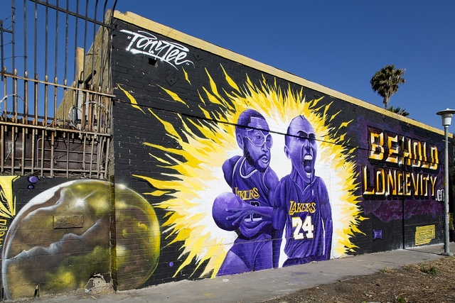 """Art mural """"Behold Longevity"""" by Tony Tee showing L.A. Lakers basketball team players, Los Angeles, California"""