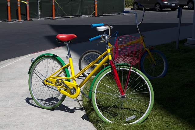Bikes that are used by employees to ride between buildings. Google Headquarters, Mountain View, California