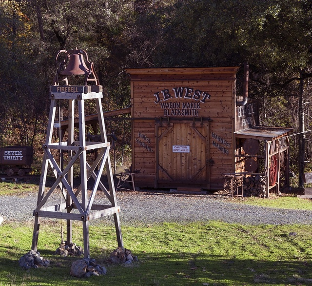 Building for J.B. West Wagon Maker and Blacksmith and firebell in Rough and Ready, a small settlement near Grass Valley, California