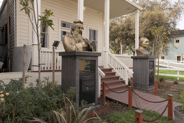 Busts of Coufucius and Sun Yat-sen outside building in Locke, an unincorporated community in the Sacramento/San Joaqin River Delta in California