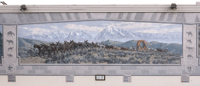 [Central panel of The Ernest Kinney Teamster Family Mural by Robert Thomas, John Knowlton Jenna Morgenstein, Rich Perkins, Tory Michener and J.T. Schmidt, 1999. Located in Bishop, a small town in Inyo County, California, at the northern end of the sweeping Owens Valley in the Eastern Sierra Mountains]