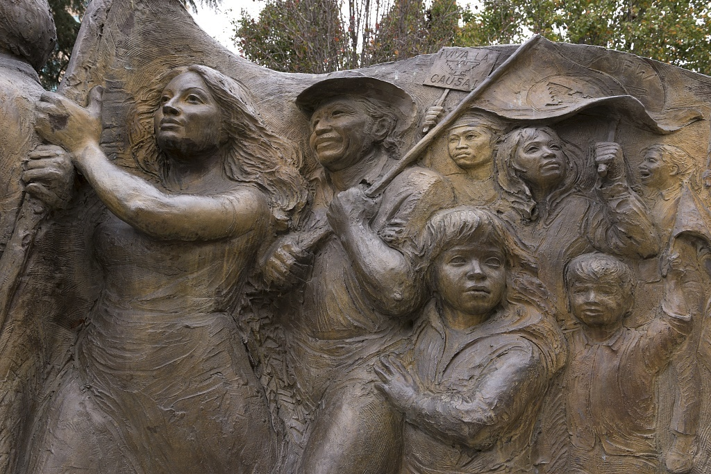 Close up of sculpture located in César Chávez Plaza is a park in downtown Sacramento, California's capital city, on the site of the old city plaza