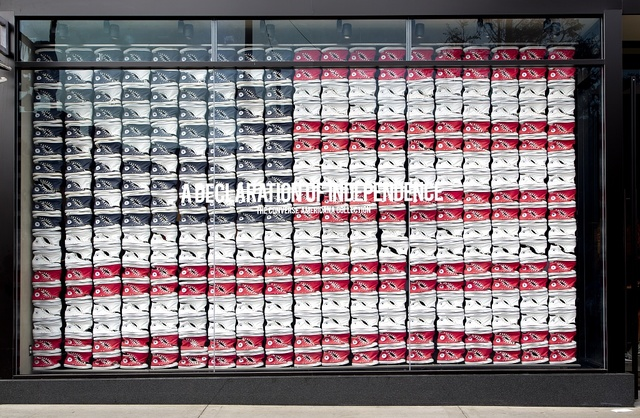 [Converse shoes displayed as American flag at] outdoor shoppng center in Los Angeles, California