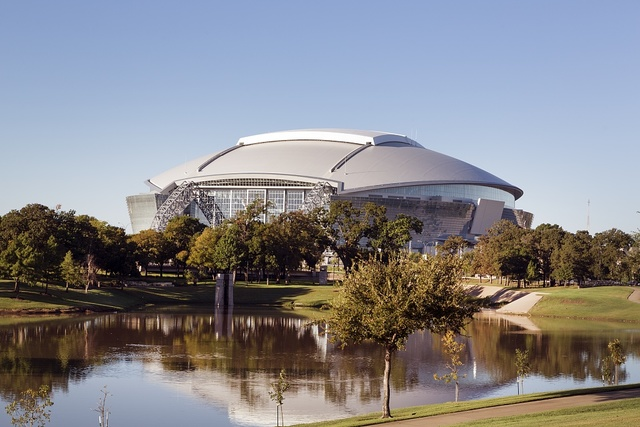 Cowboys Stadium, a domed stadium with a retractable roof in Arlington, Texas