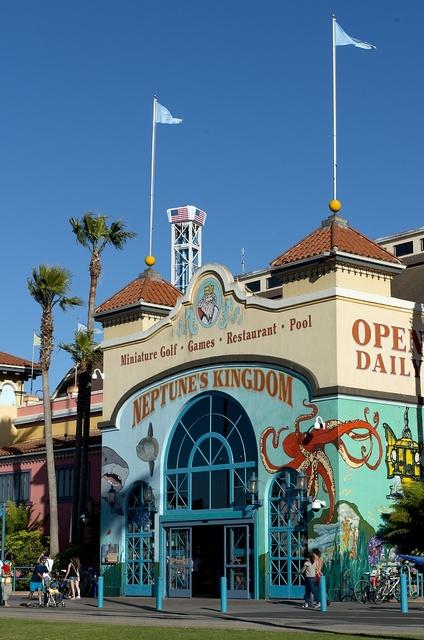 Entrance to Neptune's Kingdom with Miniature Golf, Games, Restaurant and Pool at Santa Cruz Beach Boardwalk, California