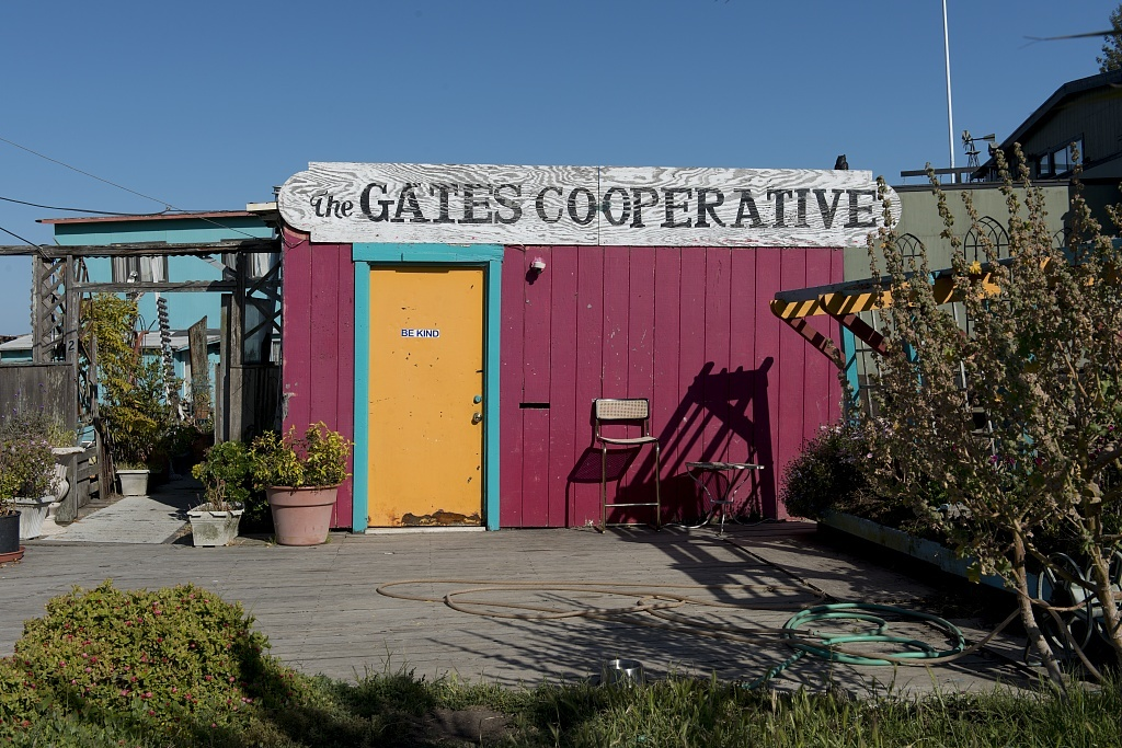 Floating homes of the Gates Cooperative in Richardson Bay, Sausalito, California