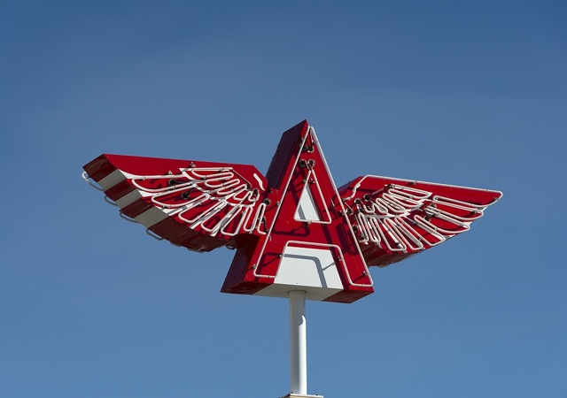 Flying A Service sign in Truckee, an unincorporated town in Nevada County, California, a few miles north of Lake Tahoe