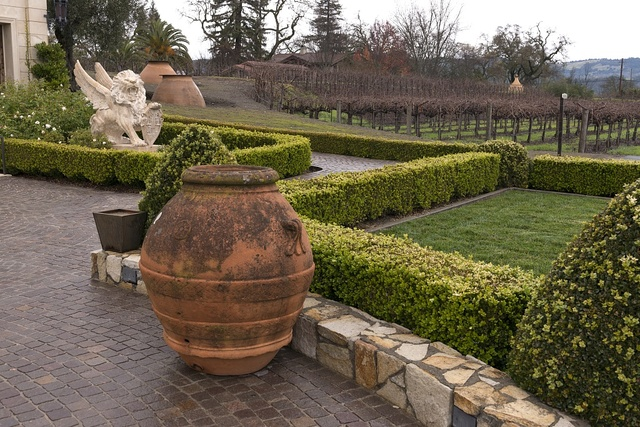 Garden statuary at the Del Dotto Estate Winery and Caves at St. Helena in California's Napa Valley