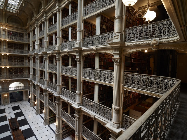 George Peabody Library, formerly the Library of the Peabody Institute of the City of Baltimore, is part of the Johns Hopkins Sheridan Libraries. Baltimore, Maryland