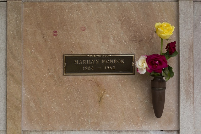 Grave stone of Marilyn Monroe at Pierce Brothers Westwood Village Memorial Park Cemetery, 1218 Glendon Avenue, Los Angeles, California
