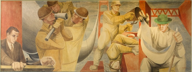 "[History of San Francisco mural ""Building the Golden Gate"" by Anton Refregier at Rincon Annex Post Office located near the Embarcadero at 101 Spear Street, San Francisco, California]"
