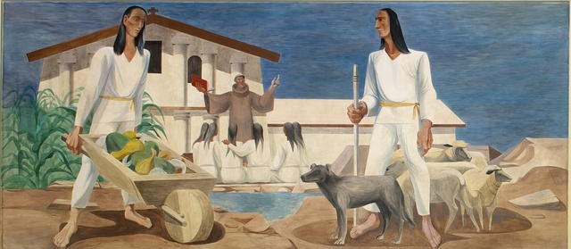 """[History of San Francisco mural """"Preaching and Farming at Mission Dolores"""" by Anton Refregier at Rincon Annex Post Office located near the Embarcadero at 101 Spear Street, San Francisco, California]"""