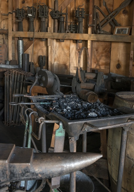 Implements at the Pioneer Blacksmith & Tin Shop in Weaverville, a popular tourist destination in the Whiskeytown-Shasta National Recreation Area, northwest of Redding, California