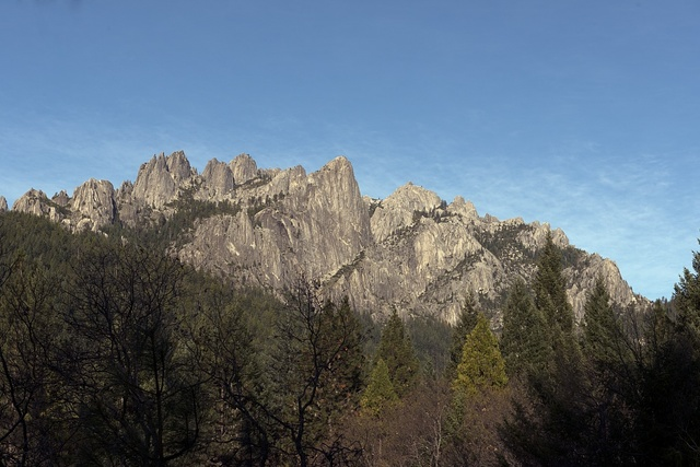 Jagged rock formations at the pinnacle of Castle Crags State Park, south of Dunsmuir, California