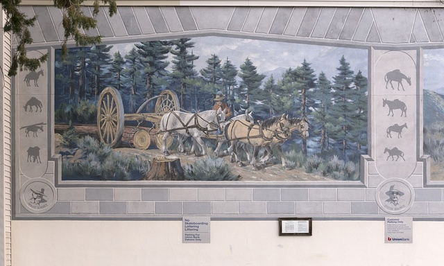 [Left panel of The Ernest Kinney Teamster Family Mural by Robert Thomas, John Knowlton Jenna Morgenstein, Rich Perkins, Tory Michener and J.T. Schmidt, 1999. Located in Bishop, a small town in Inyo County, California, at the northern end of the sweeping Owens Valley in the Eastern Sierra Mountains]