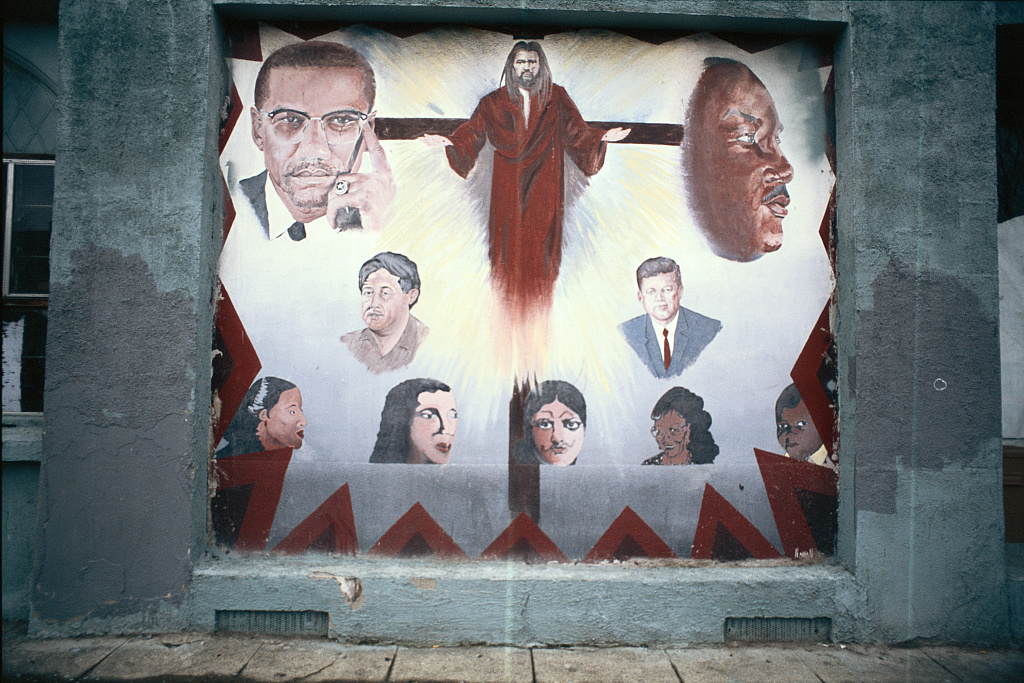 Malcolm X, Jesus Christ, MLK, Jr., Cesar Chavez, John F. Kennedy, Jr. and others in a mural at Abundant Life Ministries, 1406 Miller Ave., Oakland, California, 2012