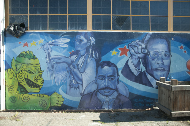 Malcolm X with Pancho Villa and other figures, East Oakland Boxing Association, 816 98th Avenue, Oakland, California, 2012