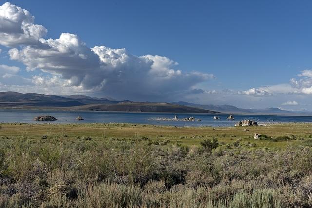 Mono Lake, a large, shallow saline soda lake in Mono County, California