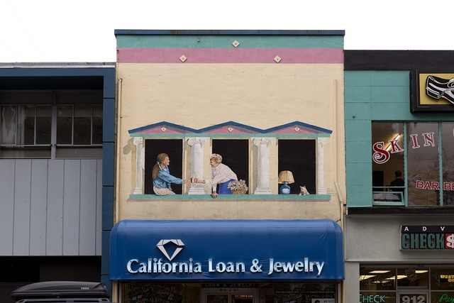 Mural above California Loan ampersand Jewelry in Sacramento, the capital city of the U.S. state of California and the county seat of Sacramento County
