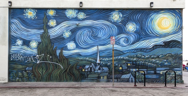 "[Mural ""Homage to a Starry Night"" by Rip Cronk, located in Venice, a beachfront district on the Westside of Los Angeles, California]"