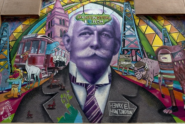 Mural of Henry E. Huntington by Evan Rossell in Huntington Beach, California