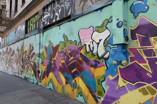 [Mural on Sculptural mural building on the corner of 6th St. and Howard St. in San Francisco, California]