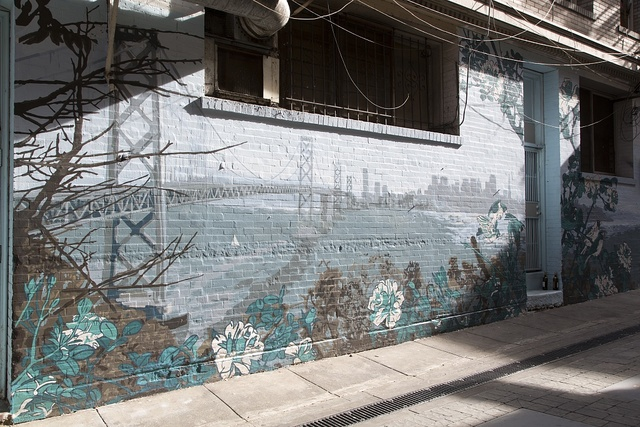 "Mural ""The Bridge"" near City Lights Bookstore, San Francisco, California"