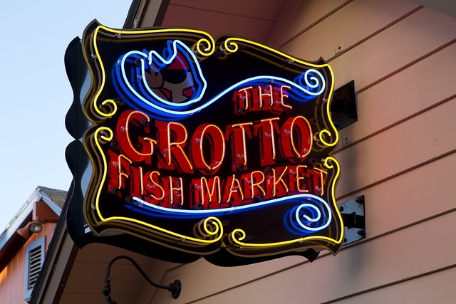 Neon sign for the Grotto Fish Market, Old Fisherman's Wharf, Monterey, California