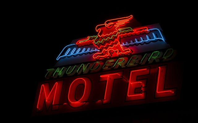 Neon sign in Bishop, a small town in Inyo County, California, at the northern end of the sweeping Owens Valley in the Eastern Sierra Mountains