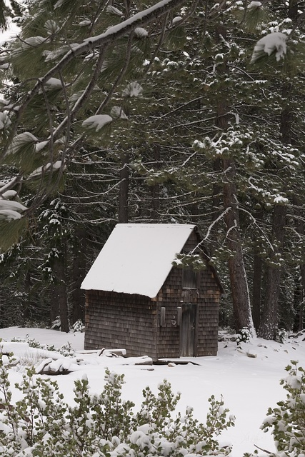 Old mining structures at Plumas-Eureka State Park in Plumas County, California
