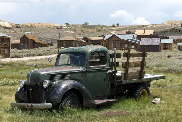 Old truck in Bodie, a ghost town in the Bodie Hills east of the Sierra Nevada mountain range in Mono County, California