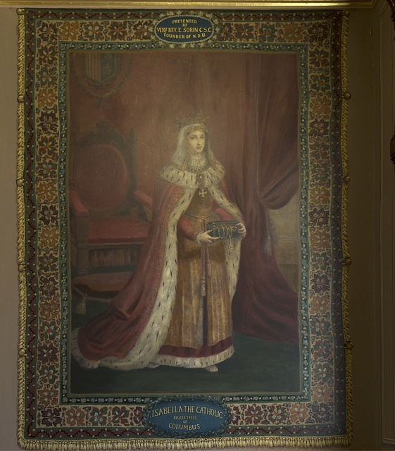Painting of Isabella the Catholic at the University of Notre Dame, a Catholic research university located in Notre Dame, an unincorporated community north of the city of South Bend, in St. Joseph County, Indiana