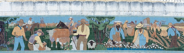 Part of a ceramic-tile mural by Works Project Administration artist Kenneth Gale, depicting Texas history, at the Will Rogers Auditorium, now part of the Will Rogers Memorial Center in Fort Worth, Texas