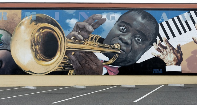 Performing Arts mural by Randy Spicer featuring jazz immortal Louis Armstrong, Eureka, California