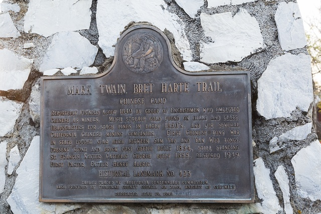 Plaque for Mark Twain Bret Harte Trail located in Chinese Camp, a small settlement in Tuolumne County, California