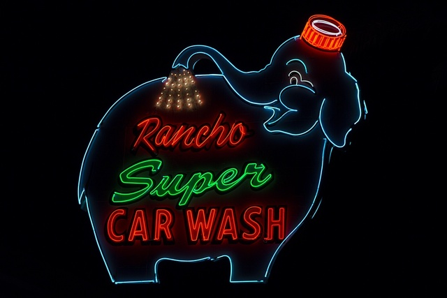 Rancho Super Car Wash neon sign in Rancho Mirage, California
