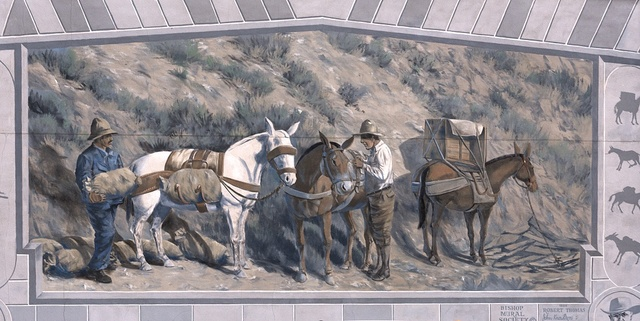 [Right panel of The Ernest Kinney Teamster Family Mural by Robert Thomas, John Knowlton Jenna Morgenstein, Rich Perkins, Tory Michener and J.T. Schmidt, 1999. Located in Bishop, a small town in Inyo County, California, at the northern end of the sweeping Owens Valley in the Eastern Sierra Mountains]