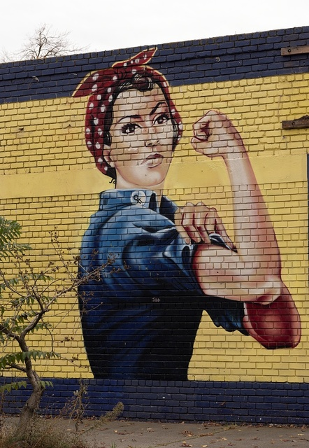 Rosie the Riveter mural on an abandoned building in Sacramento, California