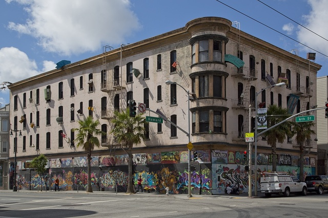 Sculptural mural building by artist Brian Goggin on the corner of 6th St. and Howard St. in San Francisco, California