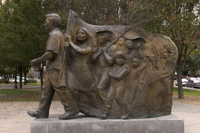 Sculpture located in César Chávez Plaza in downtown Sacramento, California's capital city, on the site of the old city plaza