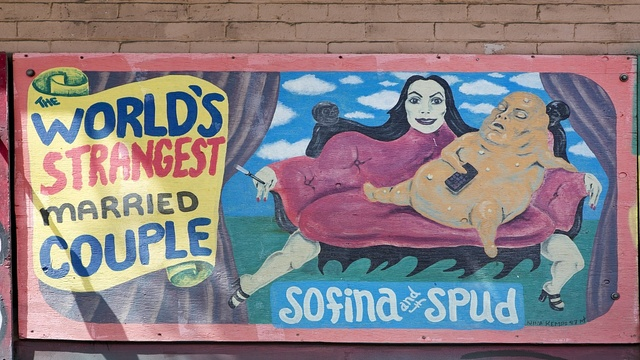 Sofina and Spud mural on Sculptural mural building on the corner of 6th St. and Howard St. in San Francisco, California