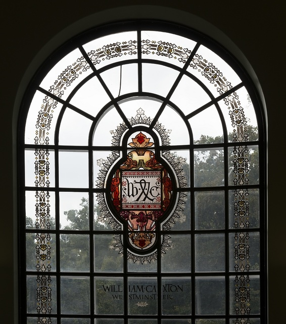 Stained-glass details in the Hutzler Reading room located in Gilman Hall, on the Johns Hopkins University campus in Baltimore, Maryland