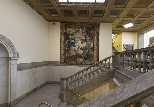 Stairwell at the William H. Welch Medical Library, the library of the Johns Hopkins Hospital in Baltimore, Maryland