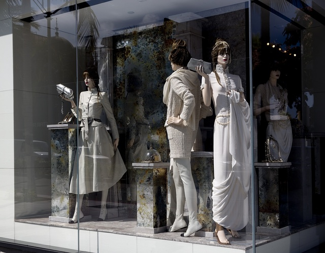 Store window on Rodeo Drive in Los Angeles, California