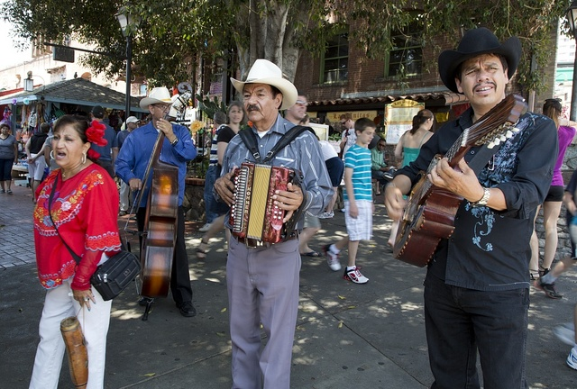 Street musicians on Olvera Street in the oldest part of downtown Los Angeles, California