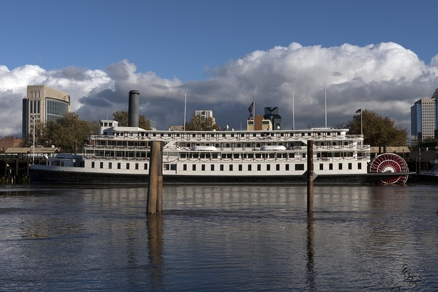 The Delta King paddlewheel sternwheel steamboat anchored beneath the Old Sacramento section of downtown Sacramento, California's capital city
